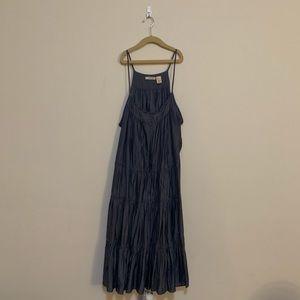 💫 DKNY Chambray Tiered Boho Dress